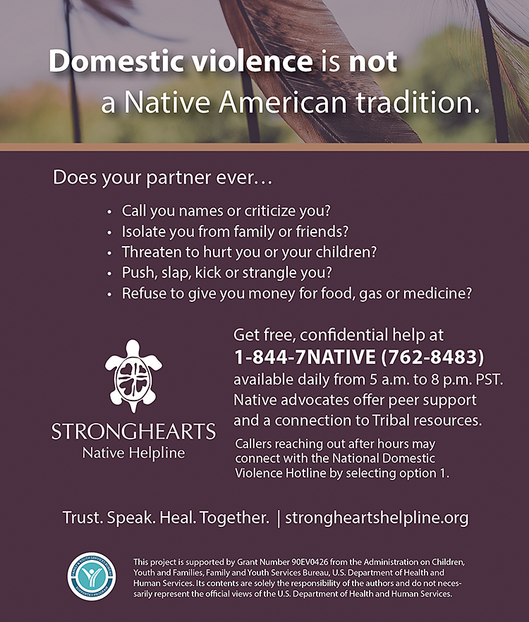 StrongHearts Native Helpline Advertisement